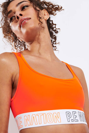 PE Nation Full Strength Sports Bra - Orange Bright image 4 - The Sports Edit