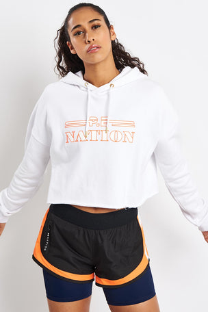 PE Nation Hot Streak Hoodie - White image 1 - The Sports Edit