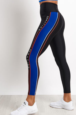 PE Nation Three Point Legging - Black image 2 - The Sports Edit