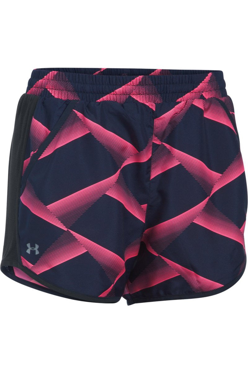 Under Armour Fly By Printed Short Navy/Reflective image 5 - The Sports Edit