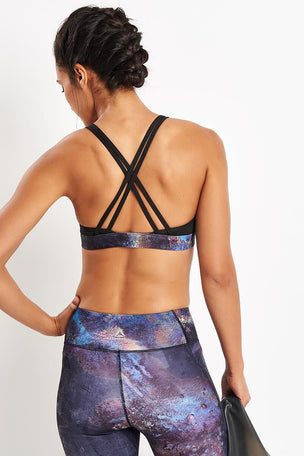 Reebok Hero Strappy Oil Slick Padded Bra - Black image 2 - The Sports Edit