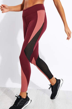 Reebok Lux Tights 2.0 - Maroon/Rose Dust image 1 - The Sports Edit