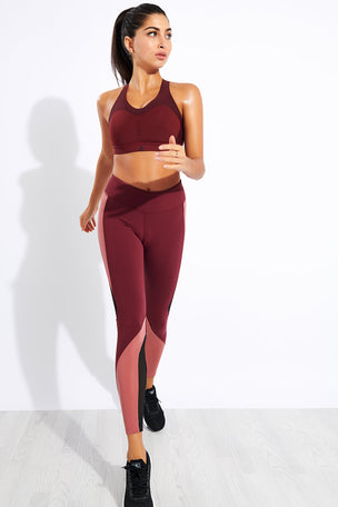 Reebok Lux Tights 2.0 - Maroon/Rose Dust image 2 - The Sports Edit