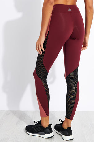 Reebok Lux Tights 2.0 - Maroon/Rose Dust image 3 - The Sports Edit