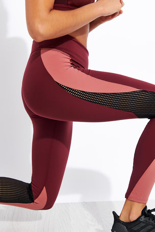 Reebok Lux Tights 2.0 - Maroon/Rose Dust image 4 - The Sports Edit