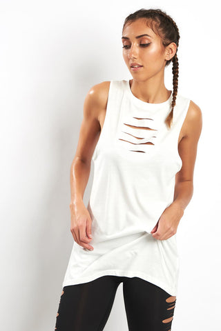 Reebok Ripped Tank - Chalk image 1 - The Sports Edit