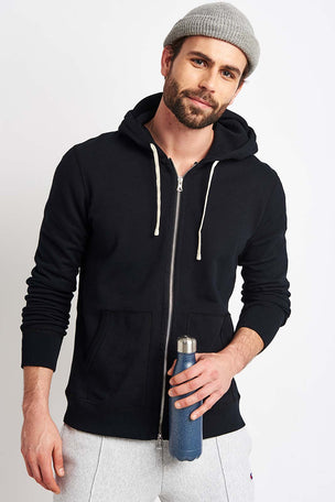 Reigning Champ Full Zip hoodie - Midweight Terry Black image 1 - The Sports Edit