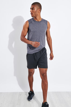 "Rhone 6"" Swift Knit Short - Asphalt Heather image 2 - The Sports Edit"