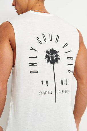 Spiritual Gangster Good Vibes Muscle Tank - Whisper White image 3 - The Sports Edit