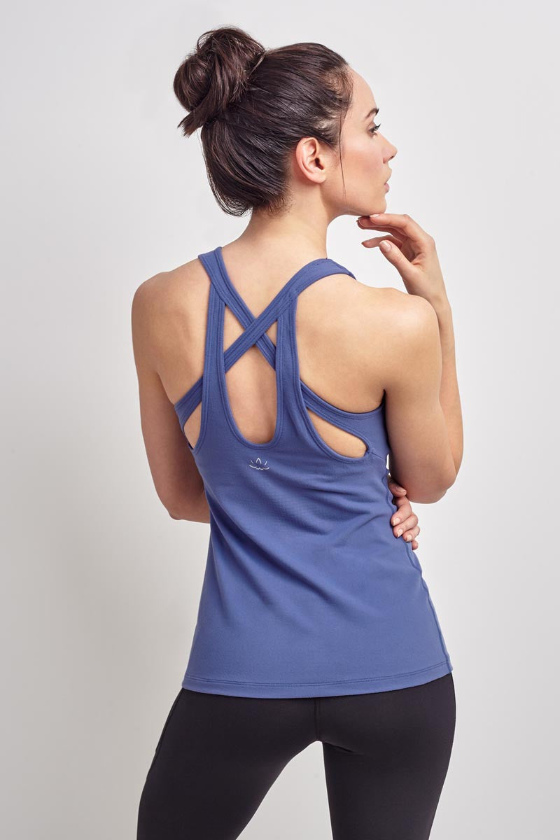 Beyond Yoga Double Keyhole Tank Faded Denim image 2 - The Sports Edit