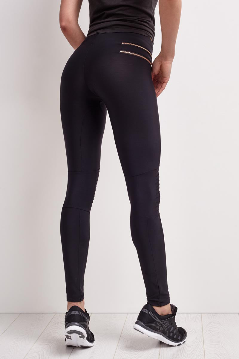 Blue Life Fit Zip it Moto Leggings image 2 - The Sports Edit