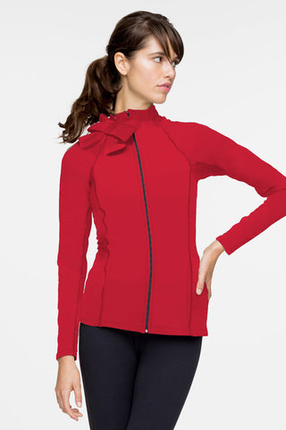 Beyond Yoga x Kate Spade New York Neck Bow Jacket Posy Red image 1 - The Sports Edit