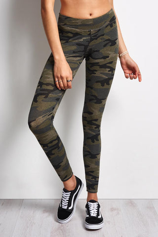 Sundry Camo Skinny Sweatpant - Khaki Camo image 1 - The Sports Edit