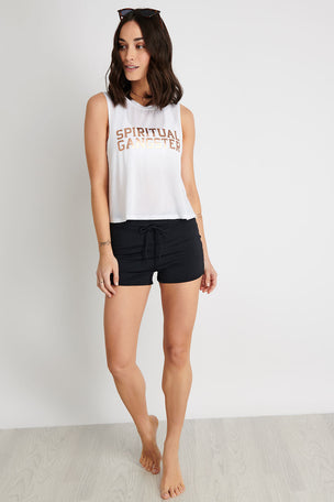 Spiritual Gangster SG Active Crop Tank - White image 2 - The Sports Edit