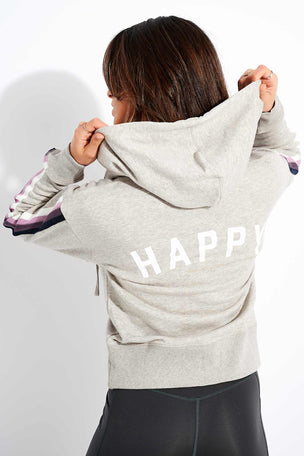 Spiritual Gangster Happy Shrunken Zip Hoodie - Heather Grey image 3 - The Sports Edit