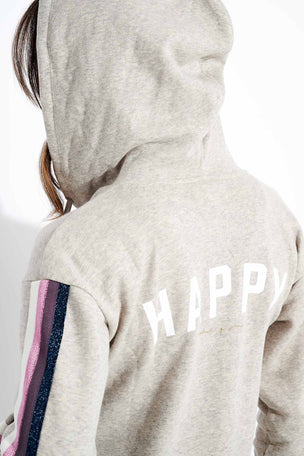 Spiritual Gangster Happy Shrunken Zip Hoodie - Heather Grey image 4 - The Sports Edit