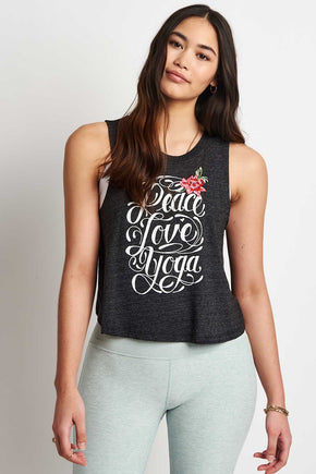 306abedffbd900 Spiritual Gangster Peace Love Yoga Embroidered Crop Tank image 1 - The  Sports Edit