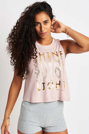 Spiritual Gangster Shine Light Crop Tank - Rose Quartz image 2 - The Sports Edit
