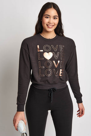 Spiritual Gangster Love Malibu Hacci Crew Neck - Vintage Black image 2 - The Sports Edit