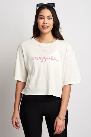 Spiritual Gangster Unstoppable Icon Boyfriend Tee - Stone image 1 - The Sports Edit