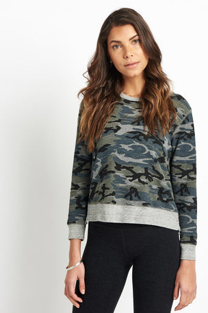 Sundry Camo Crop Pullover Grey image 1 - The Sports Edit