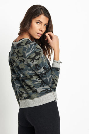 Sundry Camo Crop Pullover Grey image 2 - The Sports Edit