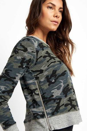 Sundry Camo Crop Pullover Grey image 3 - The Sports Edit