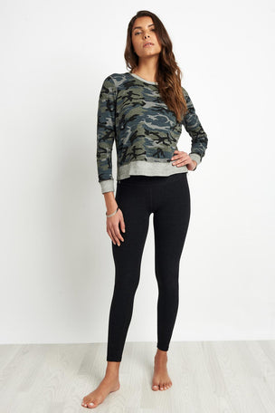Sundry Camo Crop Pullover Grey image 4 - The Sports Edit