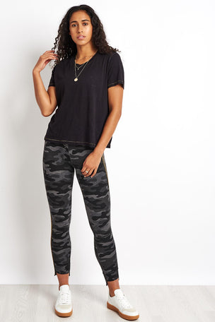 Sundry Camo Step Hem with Side Trim - Charcoal image 4 - The Sports Edit