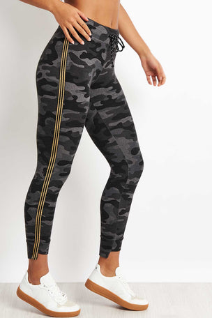 Sundry Camo Step Hem with Side Trim - Charcoal image 1 - The Sports Edit