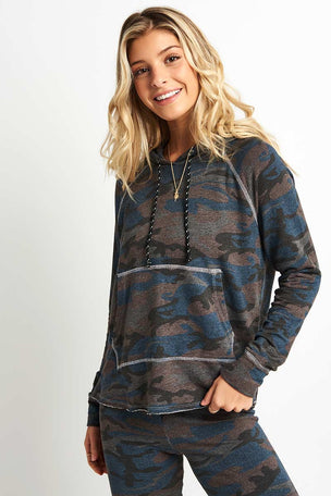 Sundry Camo Crop Hoodie image 1 - The Sports Edit