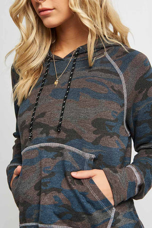 Sundry Camo Crop Hoodie image 3 - The Sports Edit