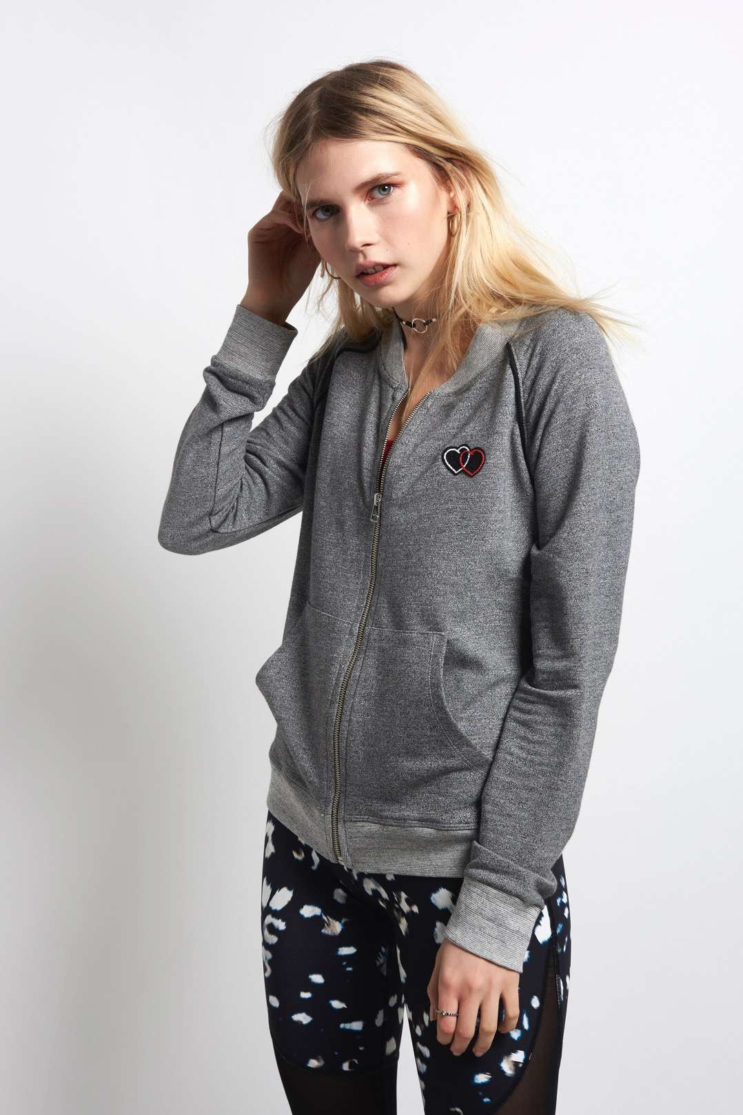 Sundry Heart Patch Track Jacket - Charcoal image 1 - The Sports Edit