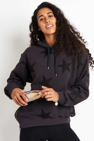 Sundry Stars Side Zipper Hoodie - Soft Black image 1 - The Sports Edit