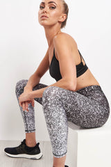 Terez Black & White Glitter Performance Leggings image 3 - The Sports Edit