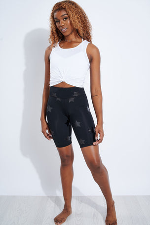 Terez Black Tonal Star Foil UpLift Bike Shorts image 2 - The Sports Edit