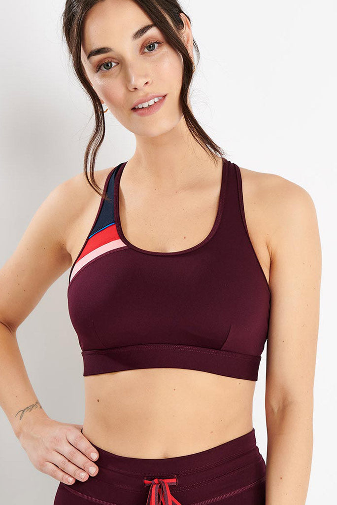 a99fd963e7d THE UPSIDE Maroon Retro Anna Bra image 1 - The Sports Edit
