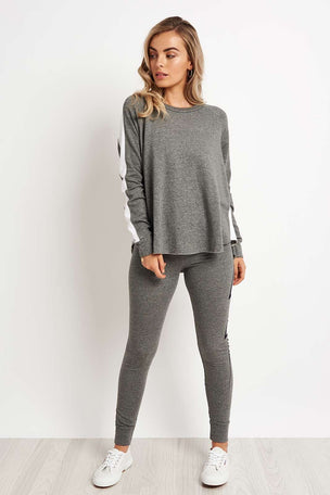Sundry Long Sleeve Raglan Sweatshirt - Grey/White image 4 - The Sports Edit