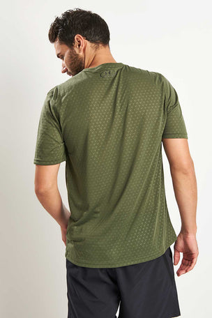 Under Armour Threadborne Embossed T-Shirt Green image 3 - The Sports Edit