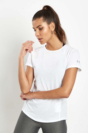 Under Armour UA Swyft Short Sleeve Top - White image 2 - The Sports Edit