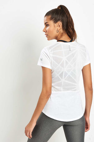 Under Armour UA Swyft Short Sleeve Top - White image 1 - The Sports Edit