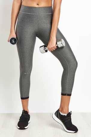 Under Armour HeatGear Armour Ankle Crop Leggings - Silver image 1 - The Sports Edit
