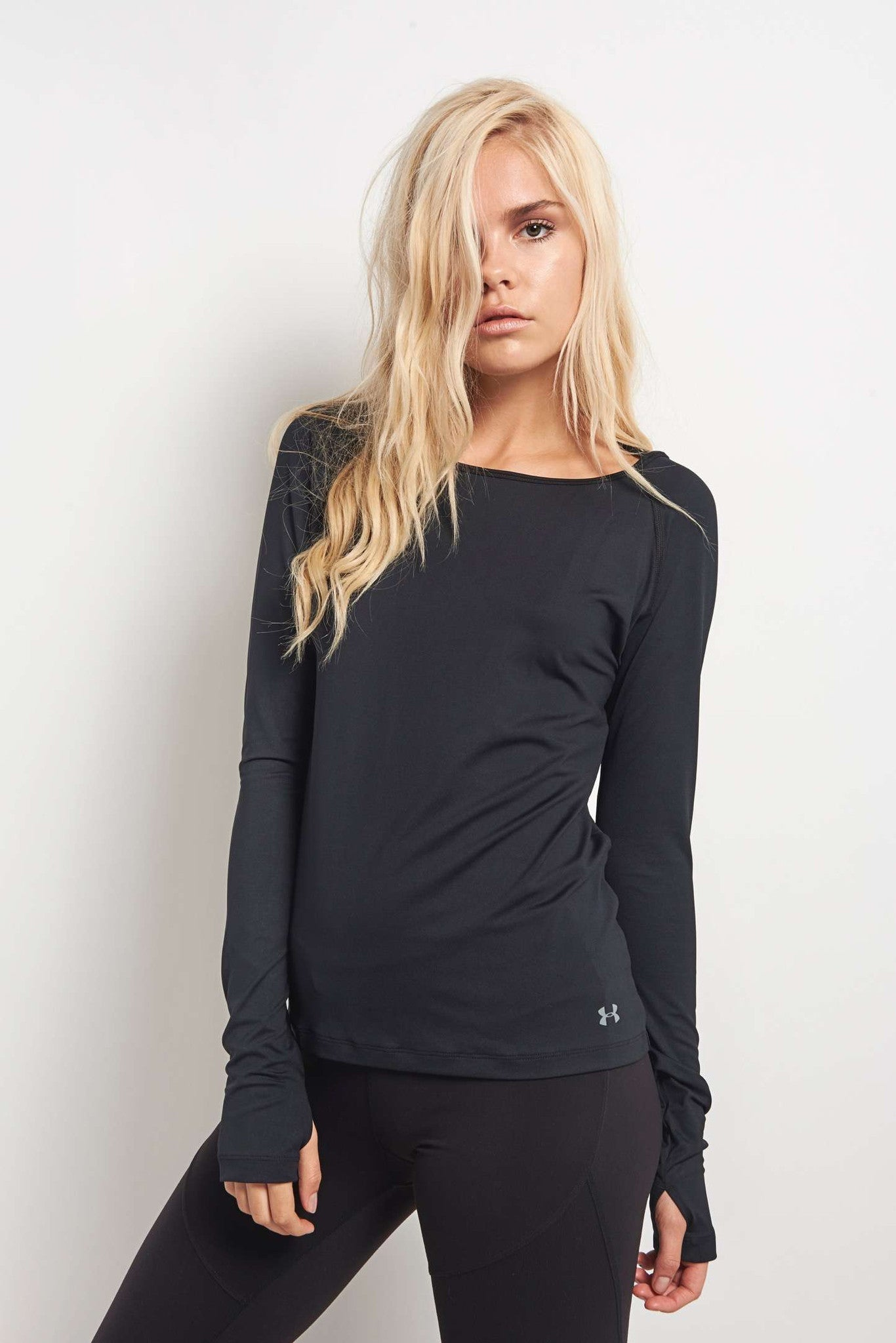 Under Armour Swing Keyhole Long Sleeve Top Black image 1 - The Sports Edit
