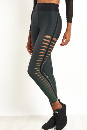 Ultracor Sprinter Velvet Slash Leggings - Emerald image 5 - The Sports Edit