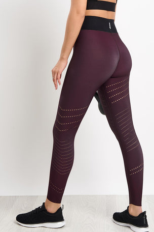 ULTRACOR Sprinter High Oblique Pixelate Legging - Burgundy image 2 - The Sports Edit