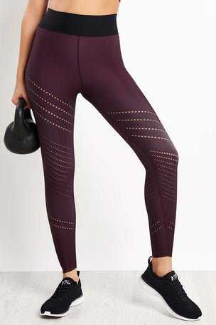 ULTRACOR Sprinter High Oblique Pixelate Legging - Burgundy image 1 - The Sports Edit