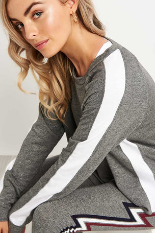 Sundry Long Sleeve Raglan Sweatshirt - Grey/White image 3 - The Sports Edit