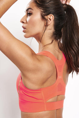 Under Armour Breathelux Perforated Mid Bra - Orange image 3 - The Sports Edit