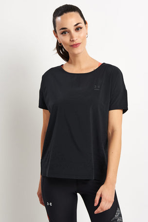 Under Armour Perpetual Woven Short Sleeve Tee - Black image 2 - The Sports Edit