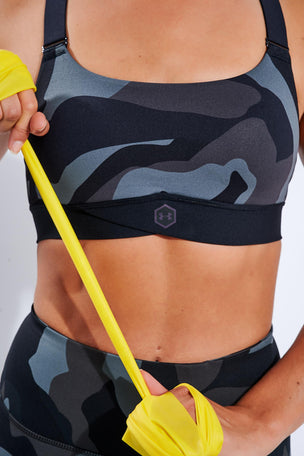 Under Armour RUSH Mid Camo Sports Bra - Black image 3 - The Sports Edit